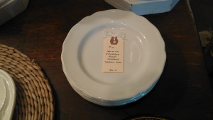 My finds at Treasures:  Six Ironstone dessert plates.  They were 20% off so they cost me less than $15.00!!!
